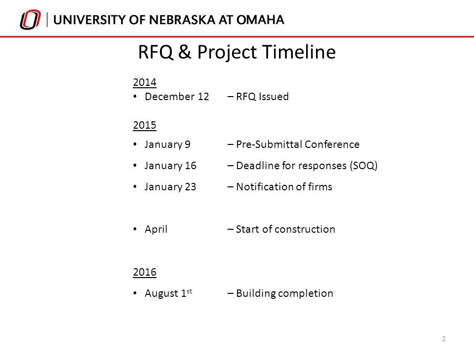 2014 December 12– RFQ Issued 2015 January 9– Pre-Submittal Conference January 16– Deadline for responses (SOQ) January 23– Notification of firms April– Start of construction 2016 August 1 st – Building completion 2 RFQ & Project Timeline