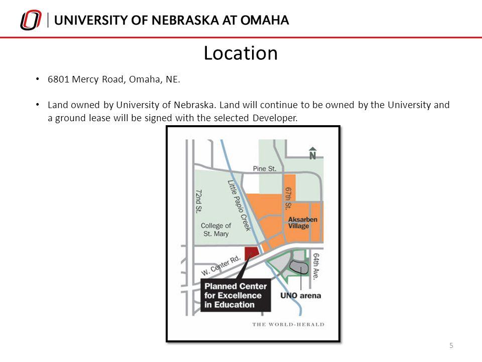 6801 Mercy Road, Omaha, NE. Land owned by University of Nebraska. Land will continue to be owned by the University and a ground lease will be signed w