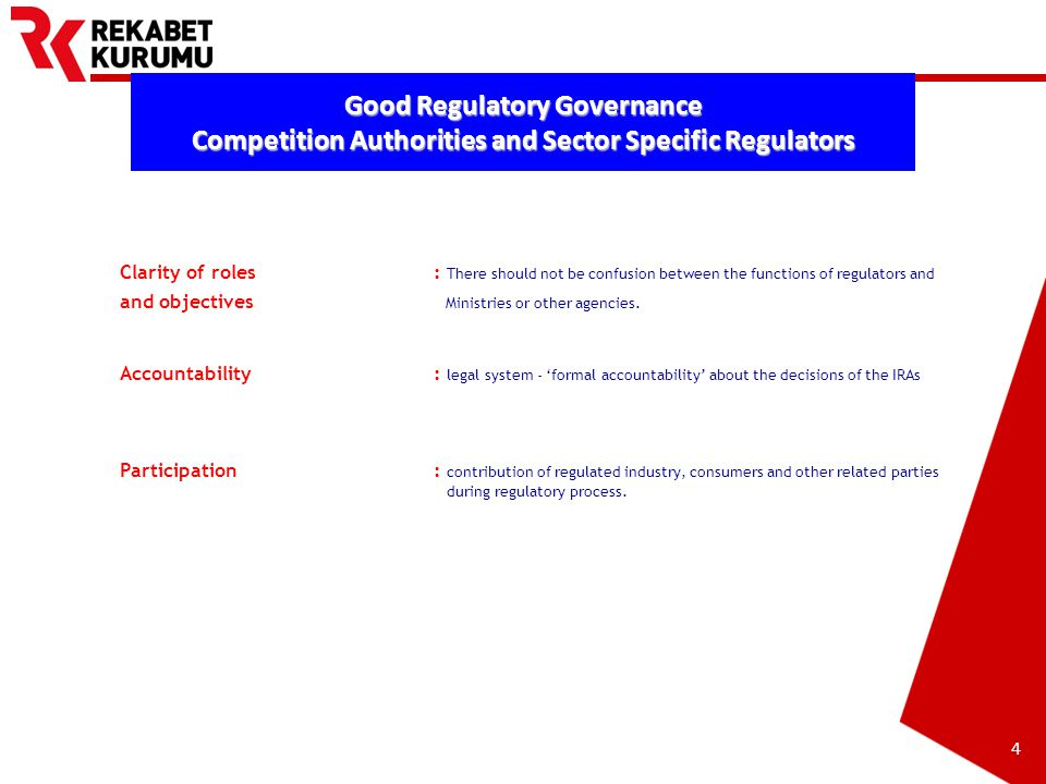 Prepared by Barış EKDİ 5 Good Regulatory Governance Competition Authorities and Sector Specific Regulators Transparency: Reasoning of decisions is important to reduce the risk of unfairness.