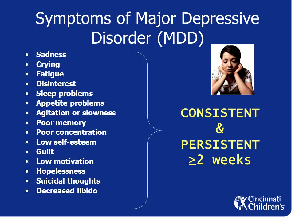 Symptoms of Major Depressive Disorder (MDD) Sadness Crying Fatigue Disinterest Sleep problems Appetite problems Agitation or slowness Poor memory Poor concentration Low self-esteem Guilt Low motivation Hopelessness Suicidal thoughts Decreased libido CONSISTENT & PERSISTENT ≥2 weeks