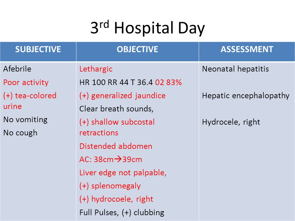 SUBJECTIVEOBJECTIVEASSESSMENT Afebrile Poor activity (+) tea-colored urine No vomiting No cough Lethargic HR 100 RR 44 T 36.4 02 83% (+) generalized jaundice Clear breath sounds, (+) shallow subcostal retractions Distended abdomen AC: 38cm  39cm Liver edge not palpable, (+) splenomegaly (+) hydrocoele, right Full Pulses, (+) clubbing Neonatal hepatitis Hepatic encephalopathy Hydrocele, right 3 rd Hospital Day