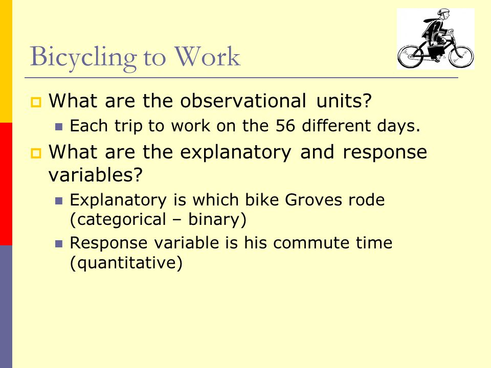 What are the observational units? Each trip to work on the 56 different days.  What are the explanatory and response variables? Explanatory is whic