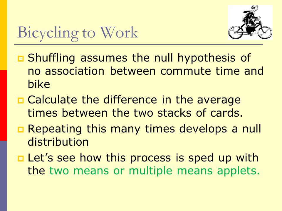  Shuffling assumes the null hypothesis of no association between commute time and bike  Calculate the difference in the average times between the two stacks of cards.