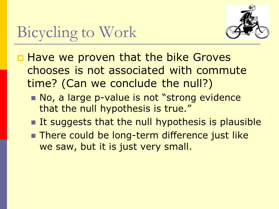  Have we proven that the bike Groves chooses is not associated with commute time.
