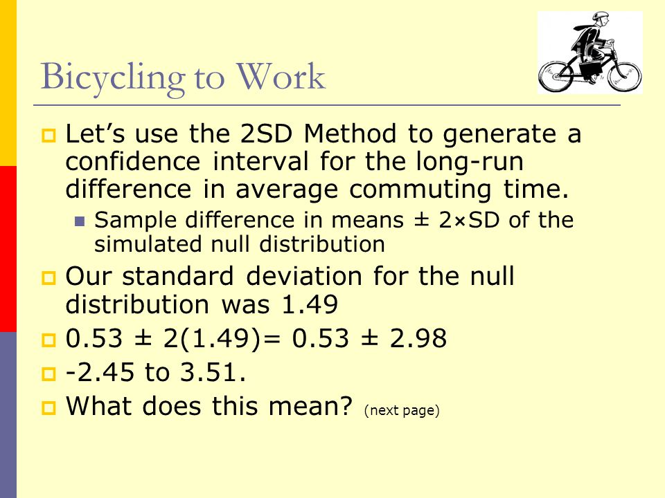  Let's use the 2SD Method to generate a confidence interval for the long-run difference in average commuting time.