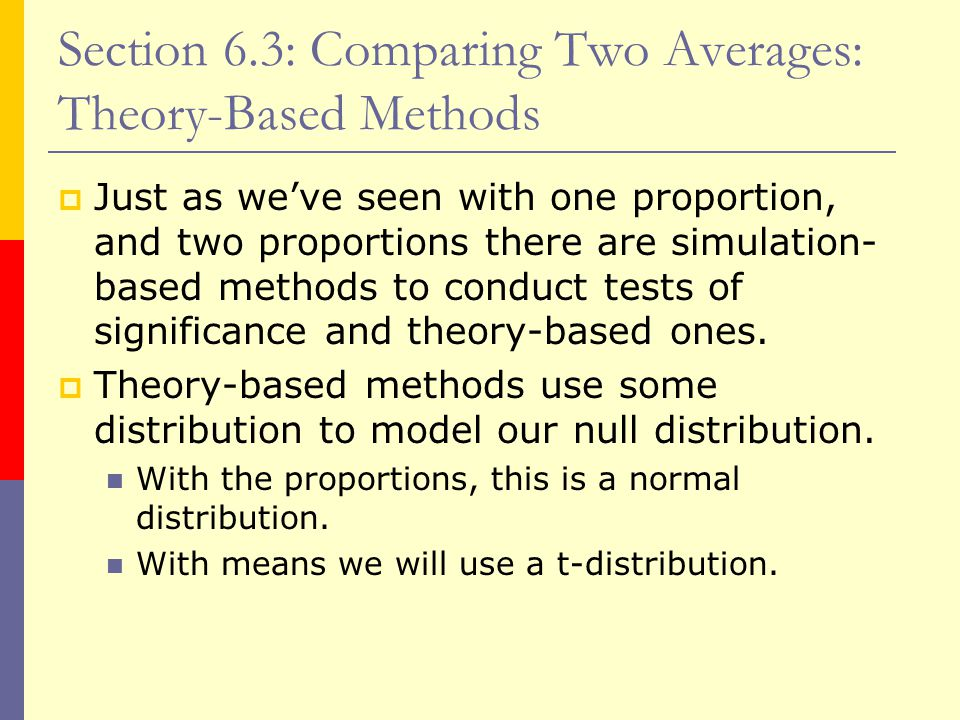 Section 6.3: Comparing Two Averages: Theory-Based Methods  Just as we've seen with one proportion, and two proportions there are simulation- based methods to conduct tests of significance and theory-based ones.