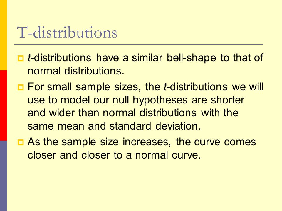 T-distributions  t-distributions have a similar bell-shape to that of normal distributions.