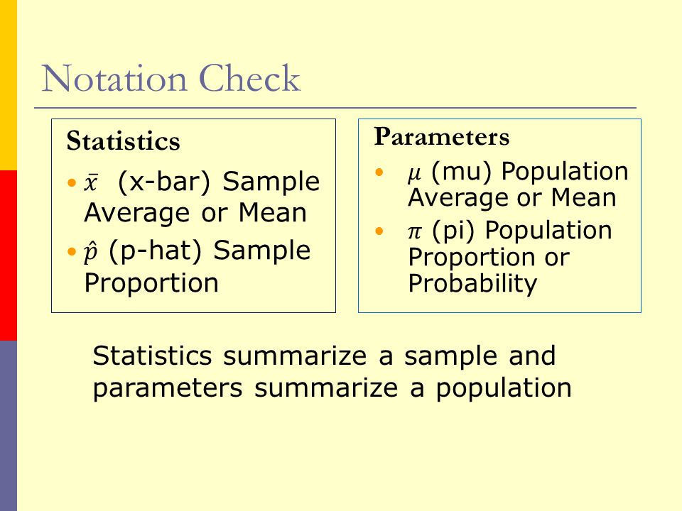 Notation Check Statistics summarize a sample and parameters summarize a population