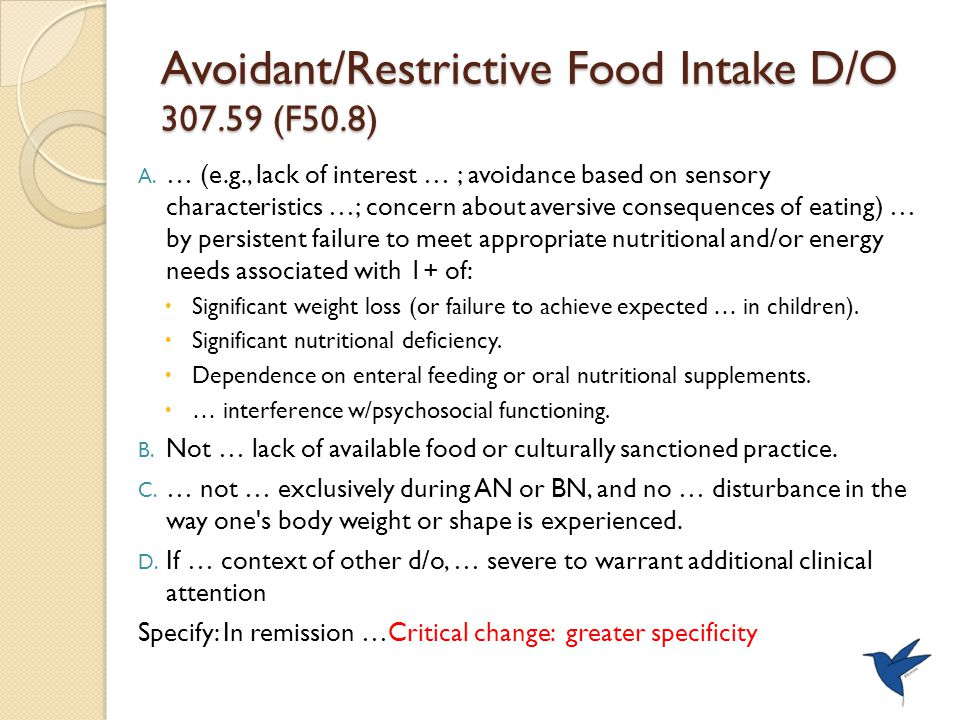 Avoidant/Restrictive Food Intake D/O 307.59 (F50.8) A.