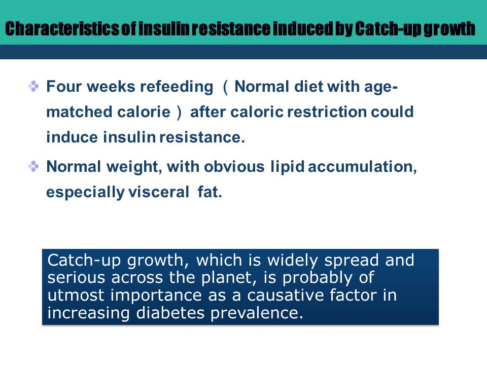 Characteristics of insulin resistance induced by Catch-up growth Four weeks refeeding ( Normal diet with age- matched calorie ) after caloric restriction could induce insulin resistance.