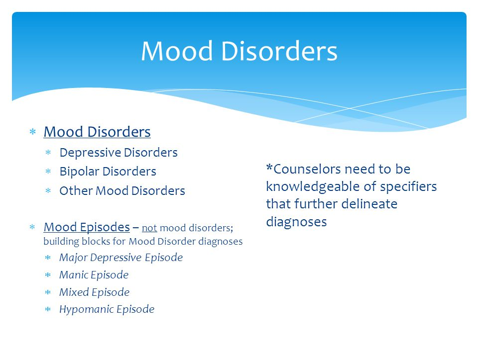 Mood Disorders  Mood Disorders  Depressive Disorders  Bipolar Disorders  Other Mood Disorders  Mood Episodes – not mood disorders; building blocks for Mood Disorder diagnoses  Major Depressive Episode  Manic Episode  Mixed Episode  Hypomanic Episode *Counselors need to be knowledgeable of specifiers that further delineate diagnoses