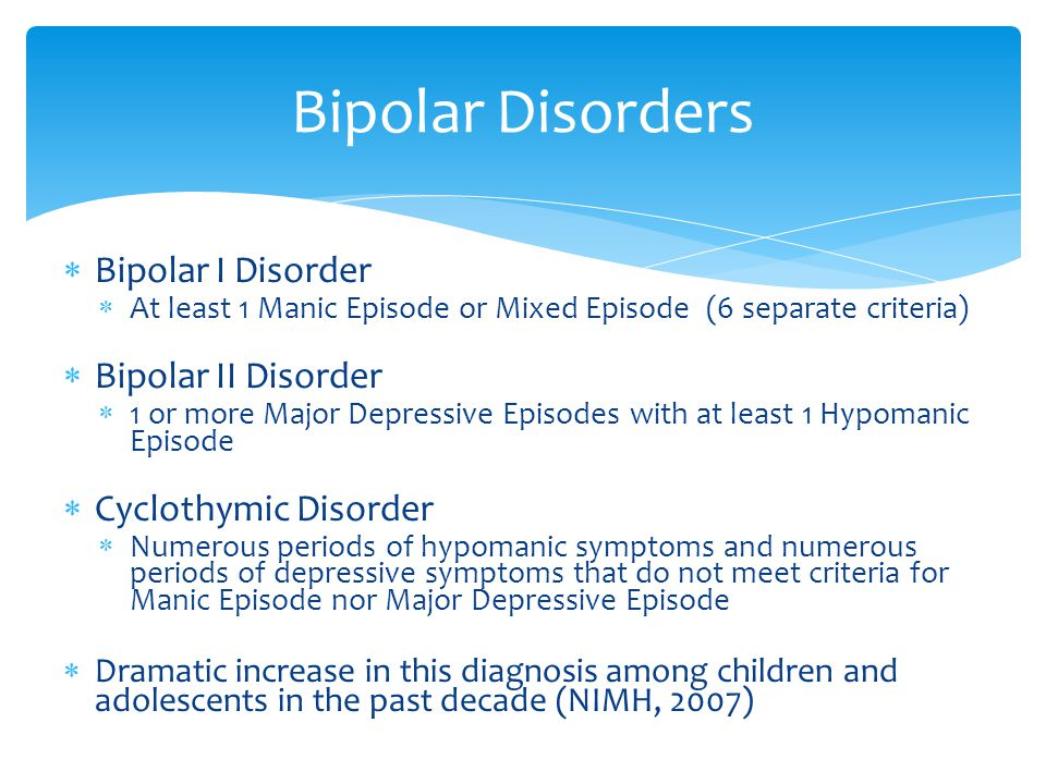  Bipolar I Disorder  At least 1 Manic Episode or Mixed Episode (6 separate criteria)  Bipolar II Disorder  1 or more Major Depressive Episodes with at least 1 Hypomanic Episode  Cyclothymic Disorder  Numerous periods of hypomanic symptoms and numerous periods of depressive symptoms that do not meet criteria for Manic Episode nor Major Depressive Episode  Dramatic increase in this diagnosis among children and adolescents in the past decade (NIMH, 2007) Bipolar Disorders