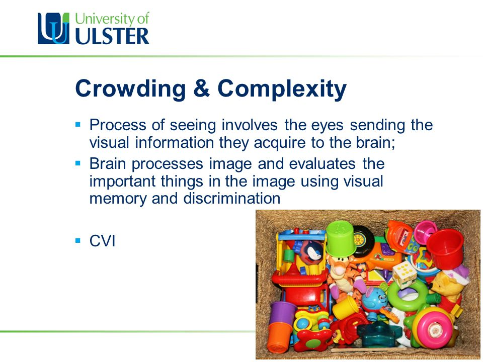 Crowding & Complexity  Process of seeing involves the eyes sending the visual information they acquire to the brain;  Brain processes image and eval