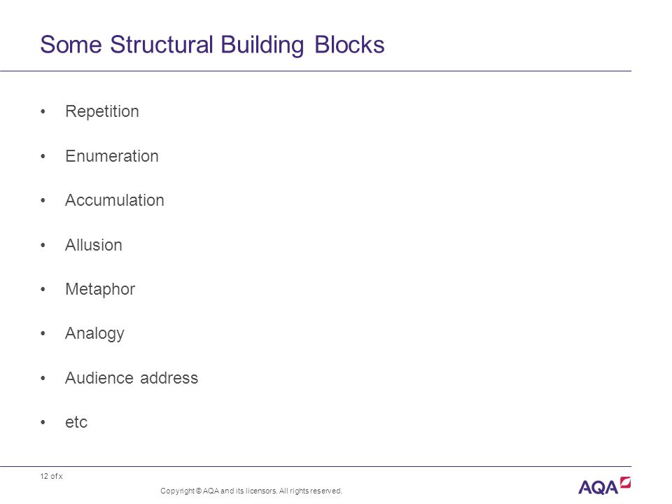 12 of x Some Structural Building Blocks Copyright © AQA and its licensors.