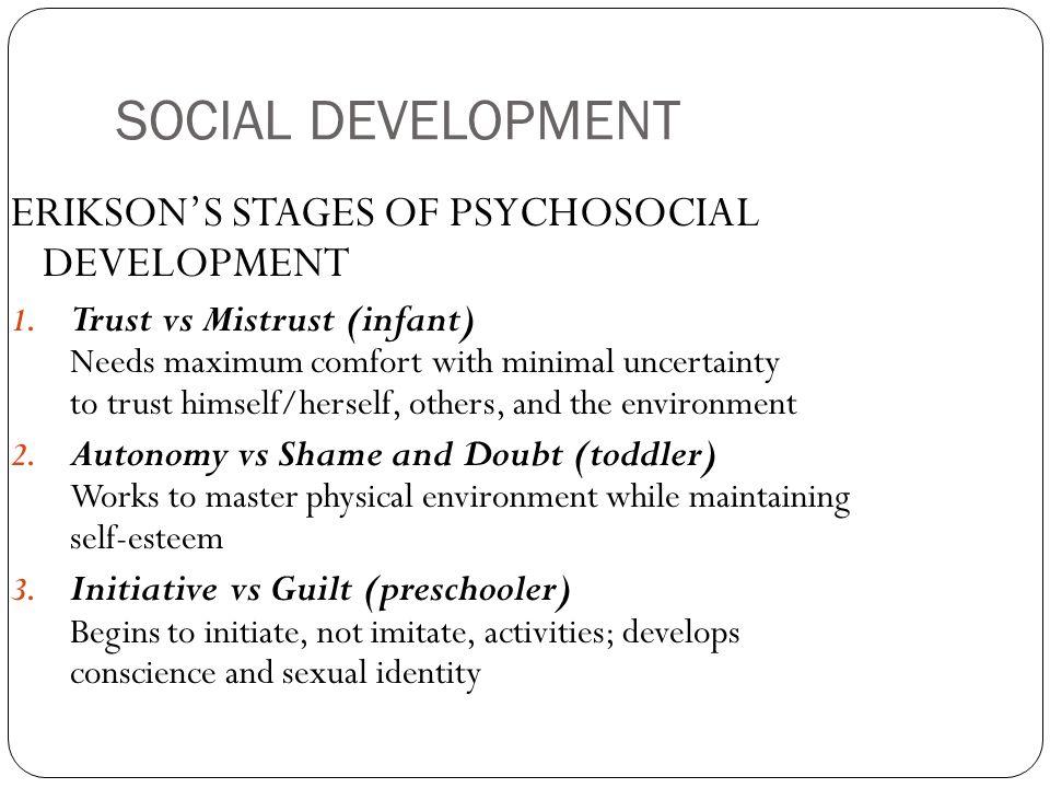 SOCIAL DEVELOPMENT ERIKSON'S STAGES OF PSYCHOSOCIAL DEVELOPMENT 1.
