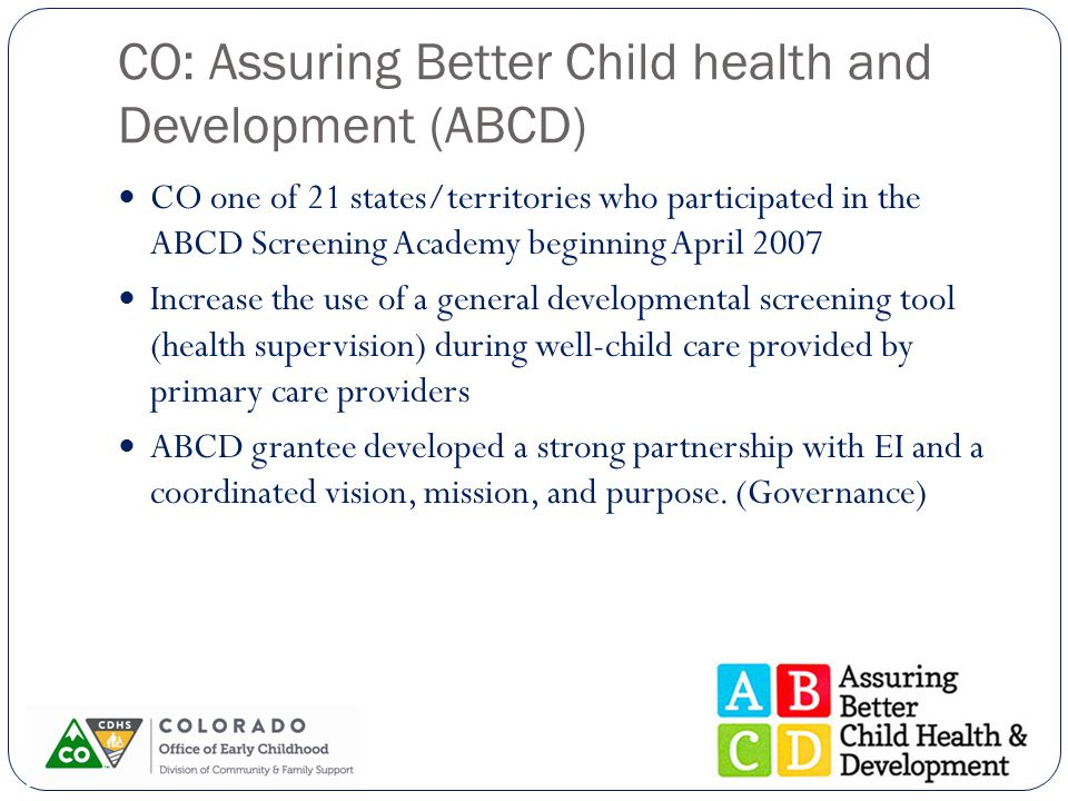 CO: Assuring Better Child health and Development (ABCD) CO one of 21 states/territories who participated in the ABCD Screening Academy beginning April