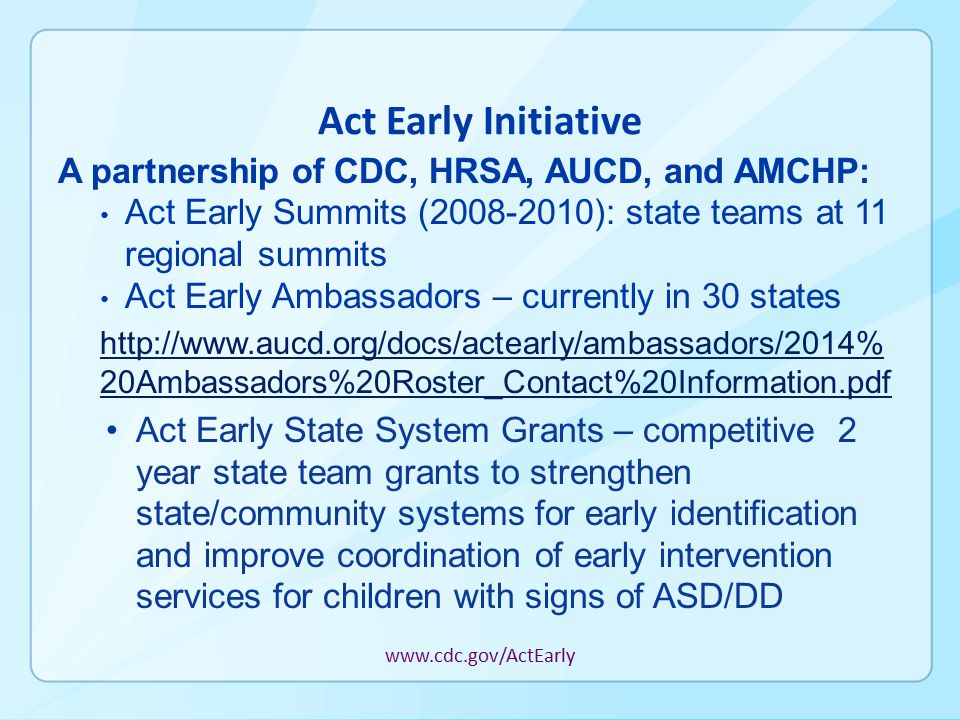 Act Early Initiative A partnership of CDC, HRSA, AUCD, and AMCHP: Act Early Summits (2008-2010): state teams at 11 regional summits Act Early Ambassadors – currently in 30 states http://www.aucd.org/docs/actearly/ambassadors/2014% 20Ambassadors%20Roster_Contact%20Information.pdf Act Early State System Grants – competitive 2 year state team grants to strengthen state/community systems for early identification and improve coordination of early intervention services for children with signs of ASD/DD www.cdc.gov/ActEarly