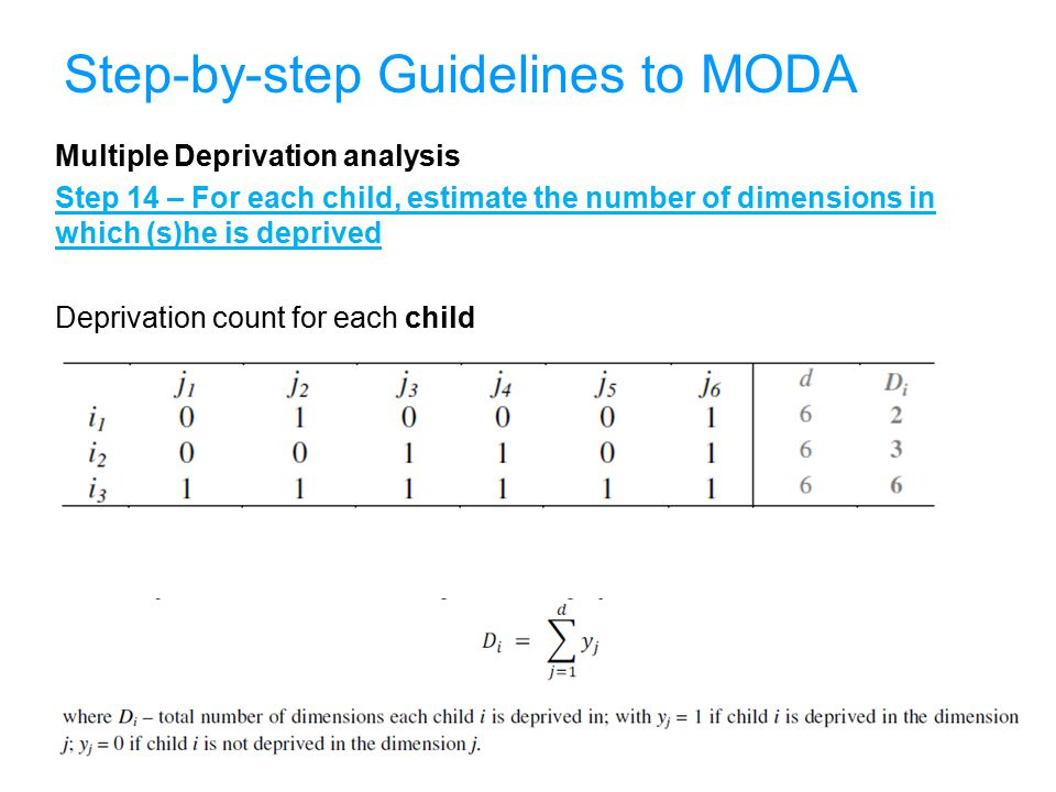 38 Step-by-step Guidelines to MODA Multiple Deprivation analysis Step 14 – For each child, estimate the number of dimensions in which (s)he is deprived Deprivation count for each child