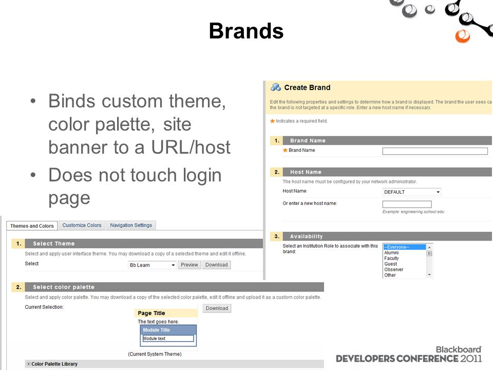 Brands Binds custom theme, color palette, site banner to a URL/host Does not touch login page