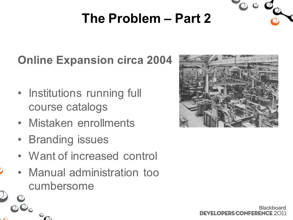 The Problem – Part 2 Online Expansion circa 2004 Institutions running full course catalogs Mistaken enrollments Branding issues Want of increased control Manual administration too cumbersome