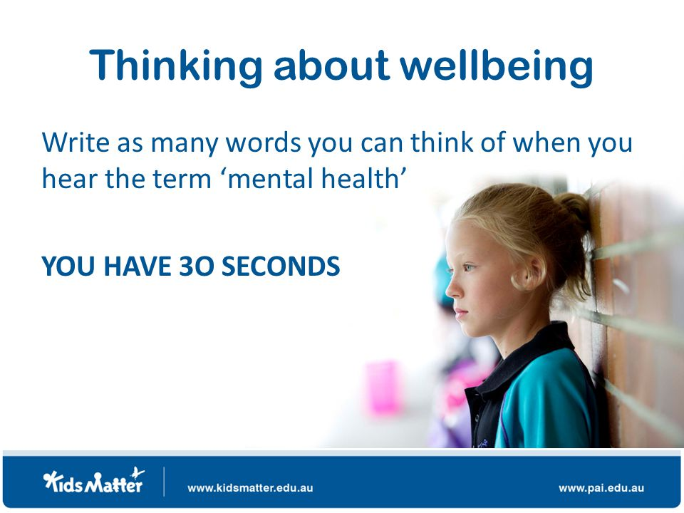 Defining mental health and wellbeing A state of wellbeing in which an individual realises his or her own abilities, can cope with the normal stresses of life, can work productively and is able to make a contribution to his or her community.