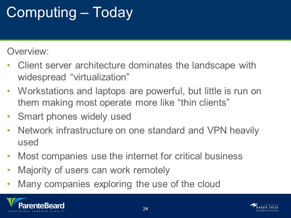 24 Computing – Today Overview: Client server architecture dominates the landscape with widespread virtualization Workstations and laptops are powerful, but little is run on them making most operate more like thin clients Smart phones widely used Network infrastructure on one standard and VPN heavily used Most companies use the internet for critical business Majority of users can work remotely Many companies exploring the use of the cloud