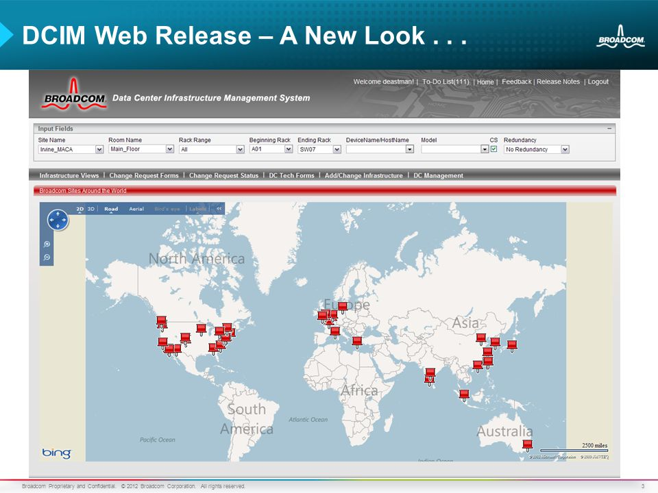 3 DCIM Web Release – A New Look... Broadcom Proprietary and Confidential.