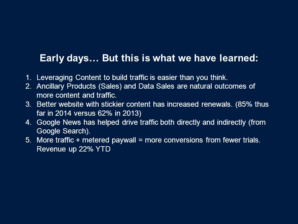 Early days… But this is what we have learned: 1.Leveraging Content to build traffic is easier than you think.