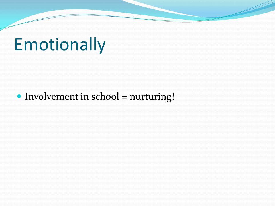 Emotionally Involvement in school = nurturing!