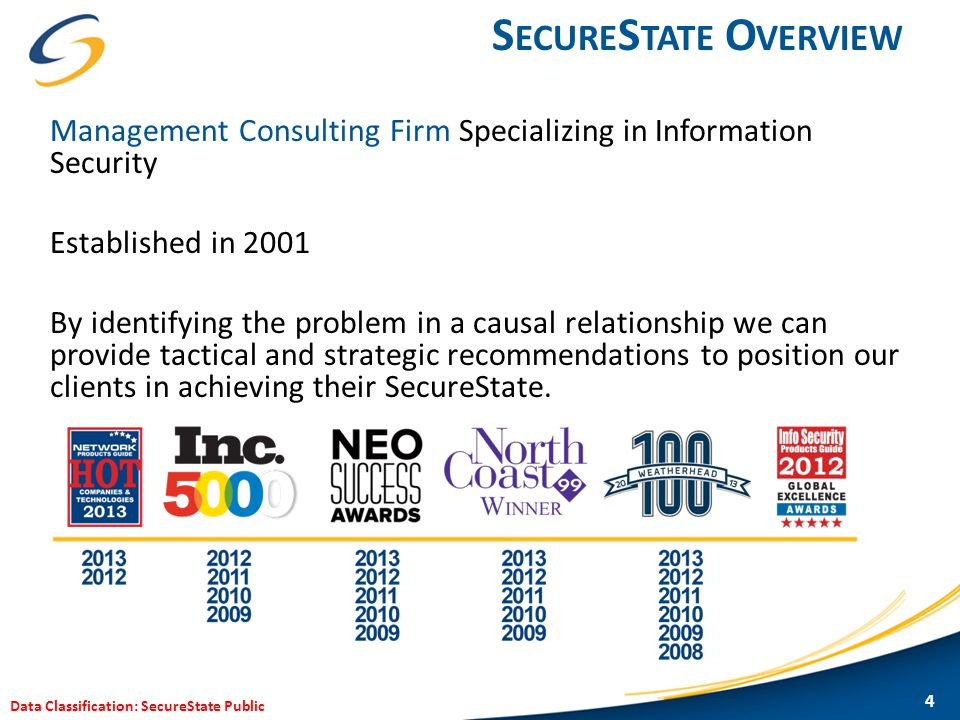 Data Classification: SecureState Public S ECURE S TATE P HILOSOPHY 5
