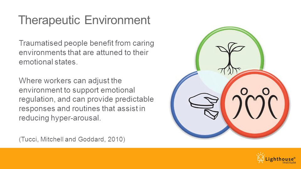 Therapeutic Environment Traumatised people benefit from caring environments that are attuned to their emotional states.