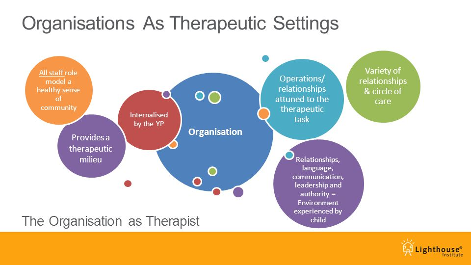 Organisations As Therapeutic Settings Organisation Internalised by the YP Operations/ relationships attuned to the therapeutic task Relationships, lan