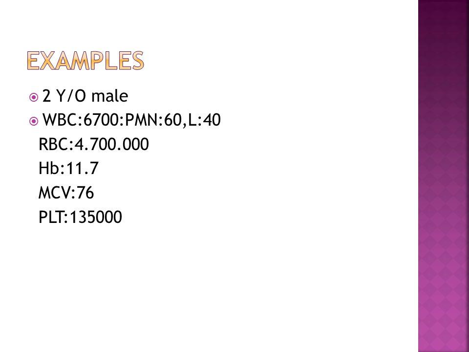  2 Y/O male  WBC:6700:PMN:60,L:40 RBC:4.700.000 Hb:11.7 MCV:76 PLT:135000