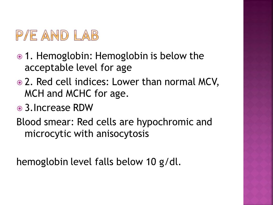  1. Hemoglobin: Hemoglobin is below the acceptable level for age  2. Red cell indices: Lower than normal MCV, MCH and MCHC for age.  3.Increase RDW