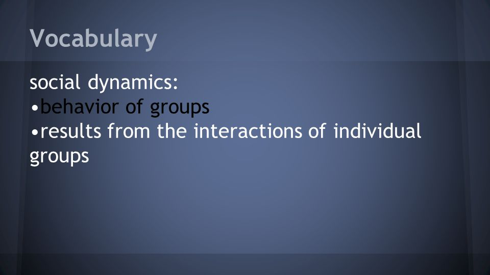 Vocabulary social dynamics: behavior of groups results from the interactions of individual groups