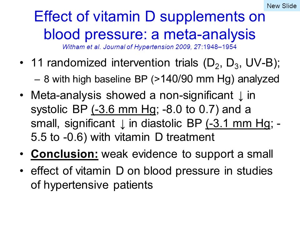 Effect of vitamin D supplements on blood pressure: a meta-analysis Witham et al.