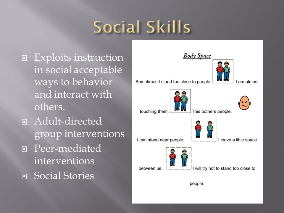  Exploits instruction in social acceptable ways to behavior and interact with others.  Adult-directed group interventions  Peer-mediated interventi