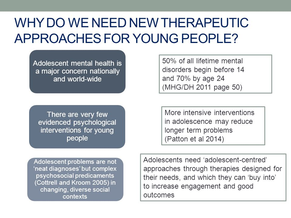 Adolescent mental health is a major concern nationally and world-wide 50% of all lifetime mental disorders begin before 14 and 70% by age 24 (MHG/DH 2011 page 50) There are very few evidenced psychological interventions for young people More intensive interventions in adolescence may reduce longer term problems (Patton et al 2014) Adolescent problems are not 'neat diagnoses' but complex psychosocial predicaments (Cottrell and Kroom 2005) in changing, diverse social contexts Adolescents need 'adolescent-centred' approaches through therapies designed for their needs, and which they can 'buy into' to increase engagement and good outcomes WHY DO WE NEED NEW THERAPEUTIC APPROACHES FOR YOUNG PEOPLE
