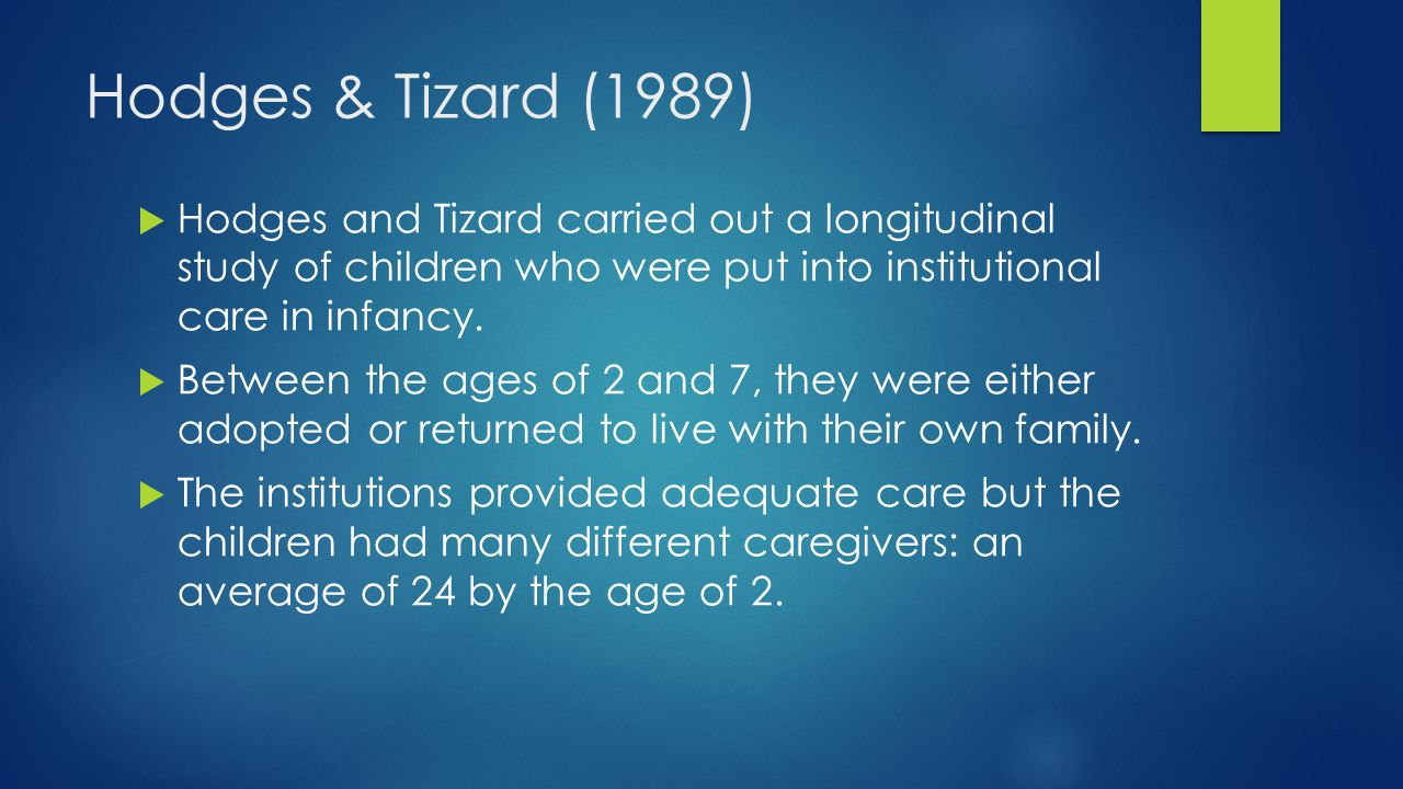 Hodges & Tizard (1989)  Hodges and Tizard carried out a longitudinal study of children who were put into institutional care in infancy.  Between the