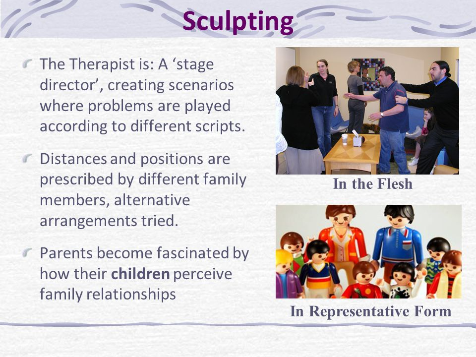Sculpting The Therapist is: A 'stage director', creating scenarios where problems are played according to different scripts. Distances and positions a