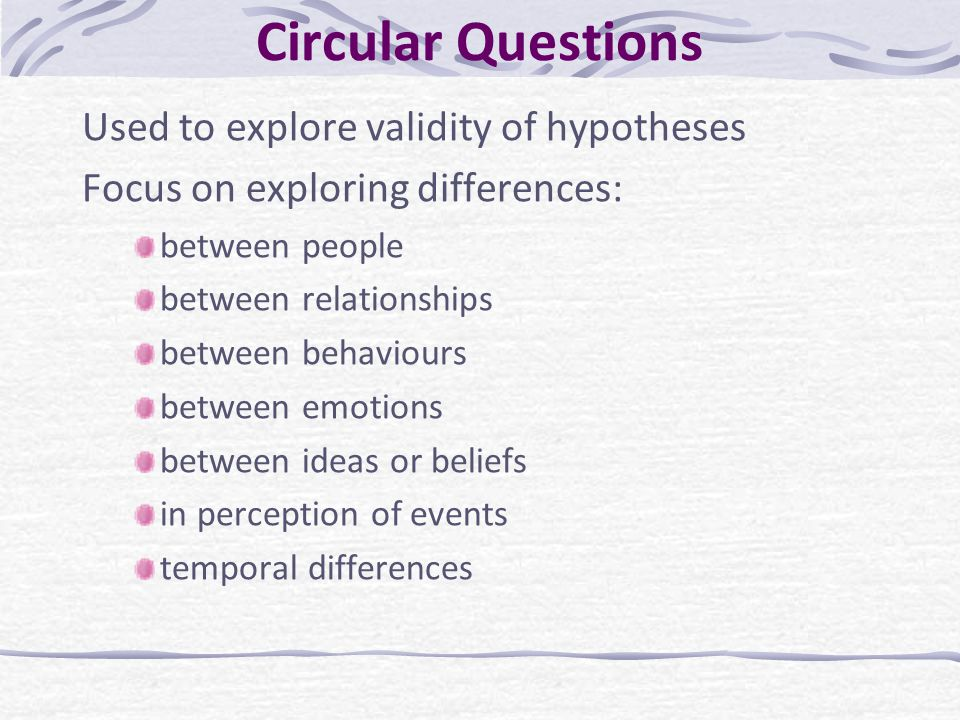 Circular Questions Used to explore validity of hypotheses Focus on exploring differences: between people between relationships between behaviours betw