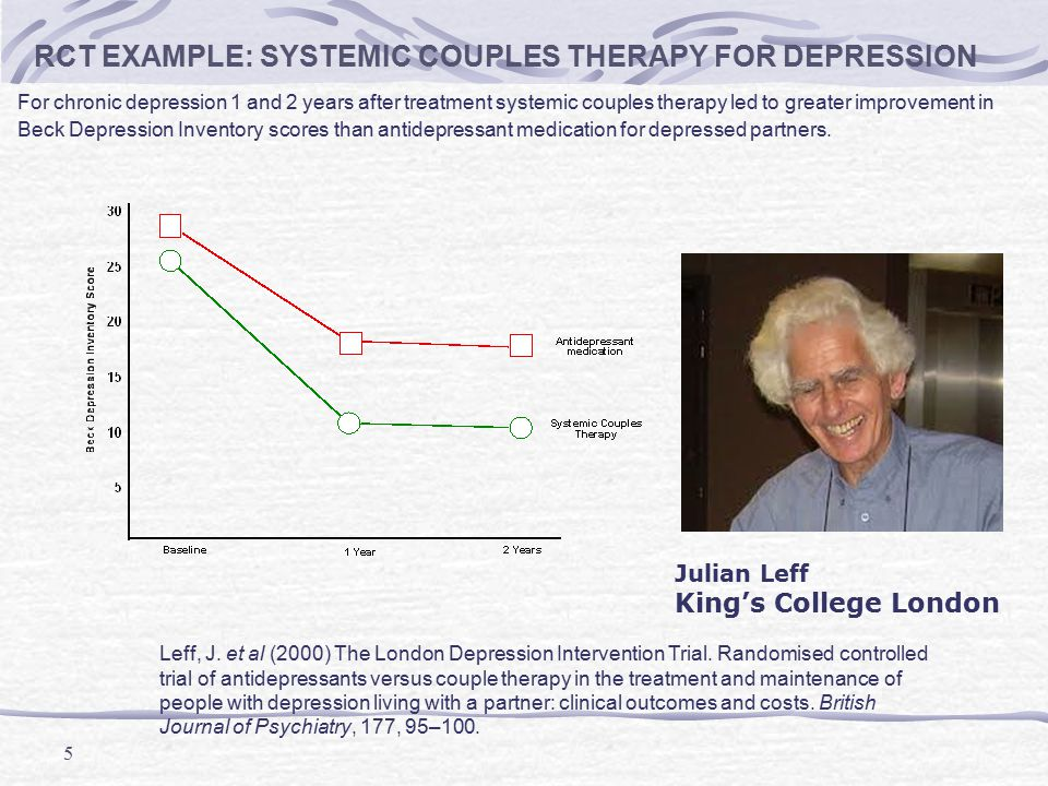 5 RCT EXAMPLE: SYSTEMIC COUPLES THERAPY FOR DEPRESSION For chronic depression 1 and 2 years after treatment systemic couples therapy led to greater im
