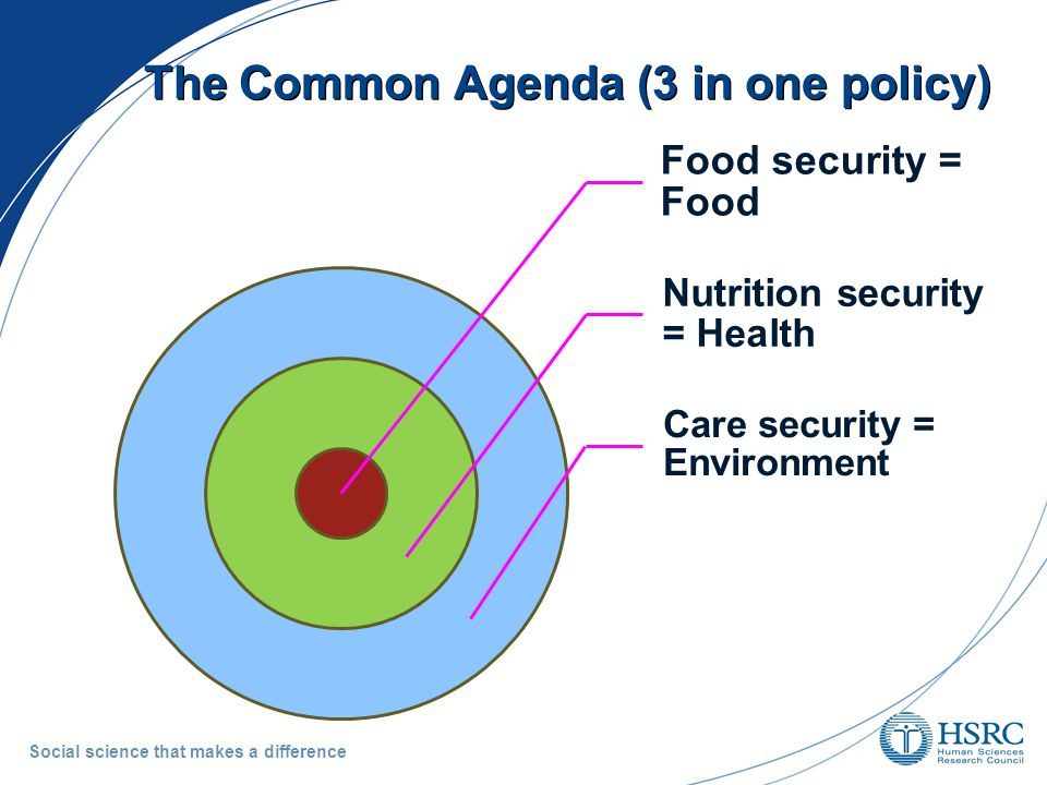 The Common Agenda (3 in one policy) Social science that makes a difference