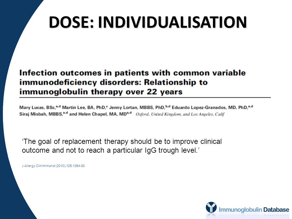 DOSE: INDIVIDUALISATION 'The goal of replacement therapy should be to improve clinical outcome and not to reach a particular IgG trough level.' J Allergy Clin Immunol (2010);125:1354-60