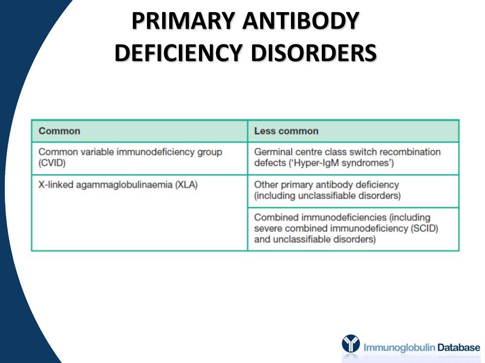 PRIMARY ANTIBODY DEFICIENCY DISORDERS