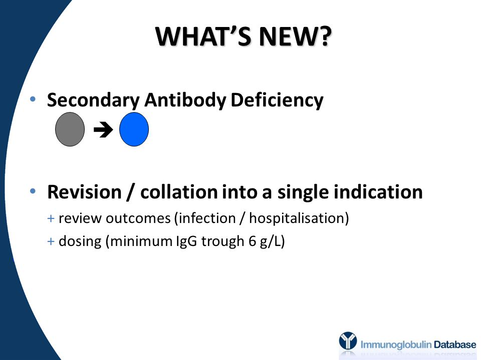 WHAT'S NEW? Secondary Antibody Deficiency  Revision / collation into a single indication + review outcomes (infection / hospitalisation) + dosing (mi