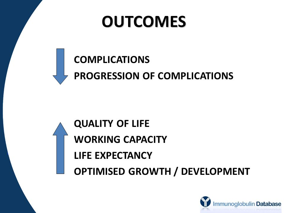 OUTCOMES COMPLICATIONS PROGRESSION OF COMPLICATIONS QUALITY OF LIFE WORKING CAPACITY LIFE EXPECTANCY OPTIMISED GROWTH / DEVELOPMENT