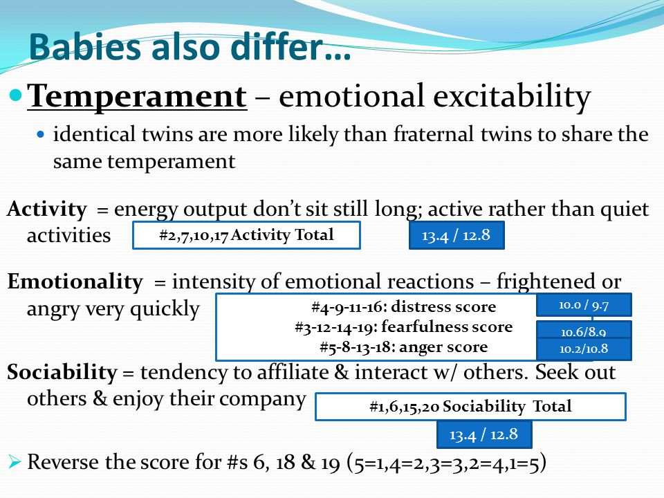 Babies also differ… Temperament – emotional excitability identical twins are more likely than fraternal twins to share the same temperament Activity =