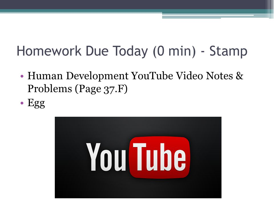 Homework Due Today (0 min) - Stamp Human Development YouTube Video Notes & Problems (Page 37.F) Egg