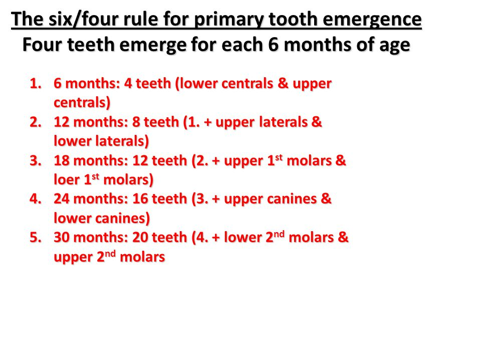 The six/four rule for primary tooth emergence Four teeth emerge for each 6 months of age 1.6 months: 4 teeth (lower centrals & upper centrals) 2.12 mo